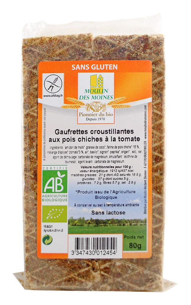 GAUFRETTES POIS CHICHES TOMATE 80G AB