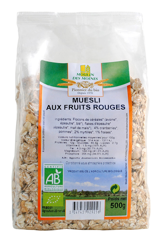 Muesli fruits rouges 500g bio