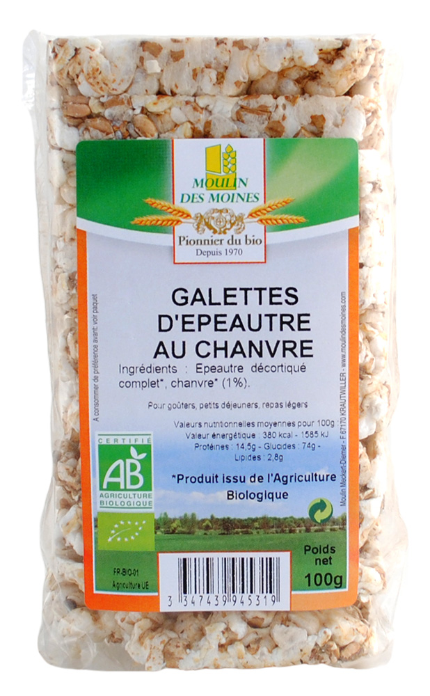 GALETTES EPEAUTRE CHANVRE 100G