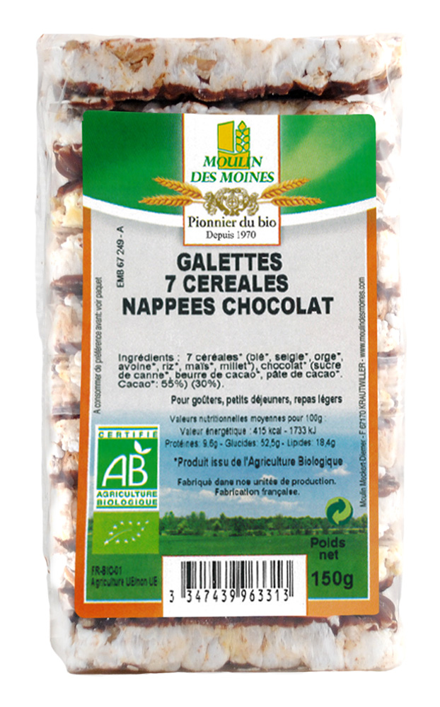 GALETTES 7 CEREALES CHOCO 150G AB